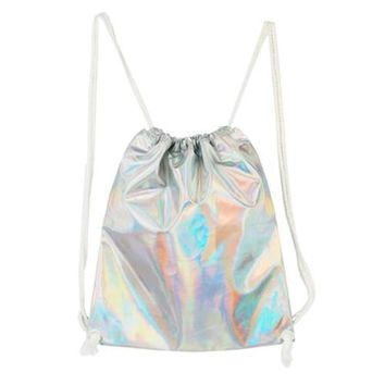 Silver Drawstring Holographic Backpack
