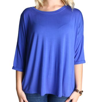 Sunset Blue Piko Loose Sleeve Top