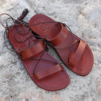 Greek gladiator women's handmade brown camel leather Jesus sandals