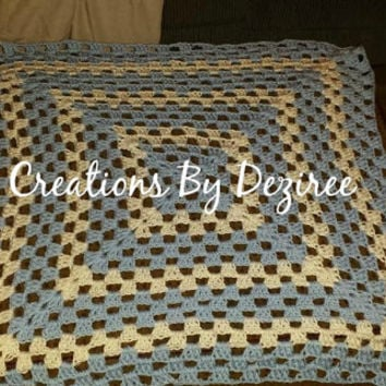 Price reduction! READY TO SHIP! Handmade Blue and White Crochet Granny Square Baby Boy Afghan! measures 30 in by 30 in!