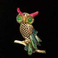 Brooch Sale Alice Caviness Owl Brooch, Sterling Silver, Gilt Clad, Germany, Plique a Jour Enamel, Caviness Figural, 1940s