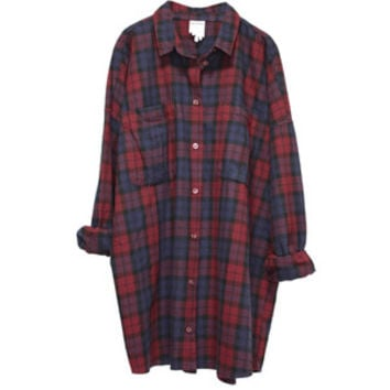 MONKI/ monkey Millie check flannel shirt (red navy)