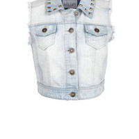 Studded Collar Denim Vest