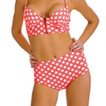 Pin-up Girl Polka Dot Print Corset Bikini Top with High Waist Bikini Bottom in Coral Pink | Sincerely Sweet Boutique
