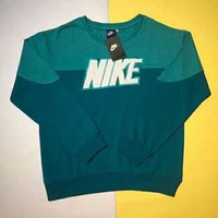 NIKE 2018 autumn color matching loose sets of embroidered tide brand couple round neck sweater Blue