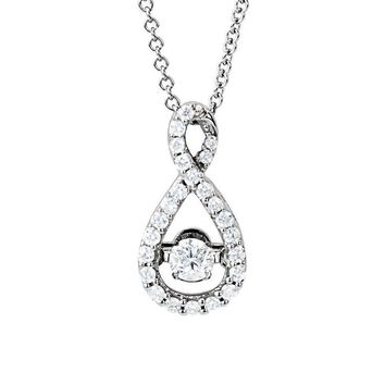 1/3 Cttw Diamond Infinity Necklace in 14k White Gold, 18 Inch
