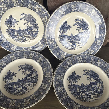 4 vintage shakespeare country blue leaves by Homer Laughlin dinner plates stratwood collection, Mid Century blue and white vintage plates