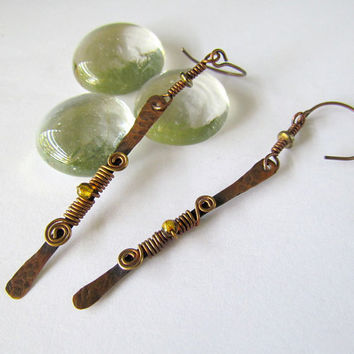 Stick Hammered Copper Earrings boho wire by SandstarJewelry