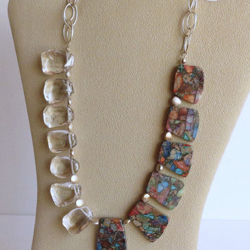 Variscite, Quartz and Sterling Silver Necklace, Statteam