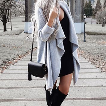 Draped Dropped-Sleeve Cardigan