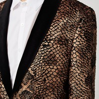 NOOSE & MONKEY Gold Textured Animal Print Blazer | Topman