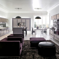 Lacquered fitted kitchen with island CONVIVIO Contemporary Kitchen Collection by Martini Mobili