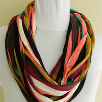 Infinity Scarf,Loop Scarf,Circle Scarf, Multi-color cotton lycra fabric Scarf,Cowl Scarf,Nomad Cowl.... Eternity Scarf