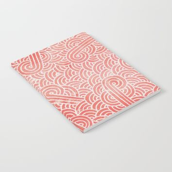 Peach echo and white swirls doodles Notebook by Savousepate