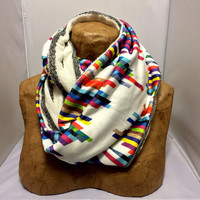 Colorful Knit Scarf - The Hybrid Crazy Lines F Infinity Scarf - LIMITED EDITION