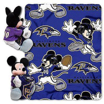Baltimore Ravens NFL Mickey Mouse Throw and Hugger Pillow Set