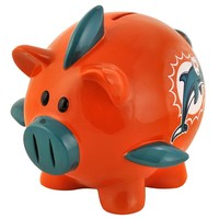 Miami Dolphins Thematic Piggy Bank (Light Blue/Navy/Orange/White)