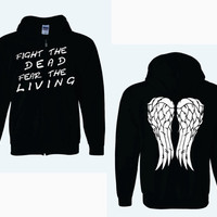 Fight The Dead Fear The Living On Front of Angel Wings Full Zip Adult Hoodie - The Walking Dead
