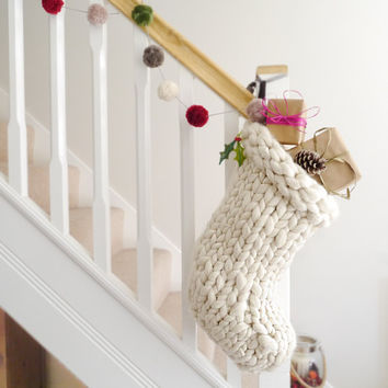 Chunky Knit White Christmas Stocking - Traditional white hand knitted christmas stocking - Scandinavian Christmas decoration