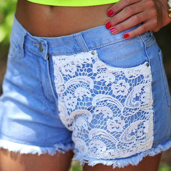 Hip In Lace Shorts: Denim | Hope's