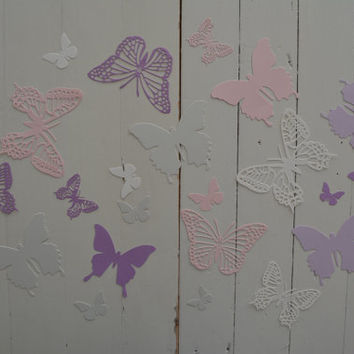 3D Butterflies made of textured card stock in Ivory, Dusty grey, Soft pink and 2 shades of purple --- Let them fly around in your nursery