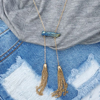 Two Tassel Peacock Stone Necklace