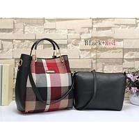 Perfect Burberry Women Leather Shoulder Bag Satchel Tote Handbag Crossbody Two Piece Set