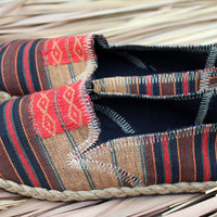 Tribal Womens Vegan Shoe Slip on Loafer In Ethnic Naga Textiles