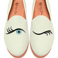 Prince Albert Bone Canvas Slipper Loafers With Winking Eye Embroidery by Del Toro for Preorder on Moda Operandi