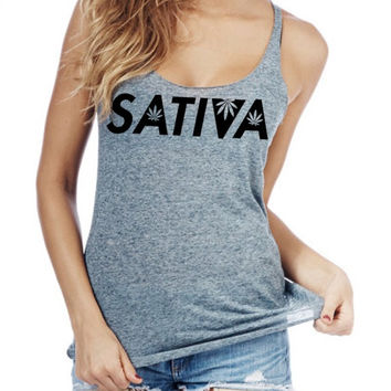 Sativa  Women racerback tank top made in usa