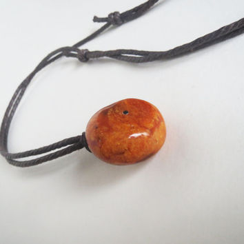 Big natural amber pendant, necklace, orange brown unisex necklace, organic jewelry, eco fashion
