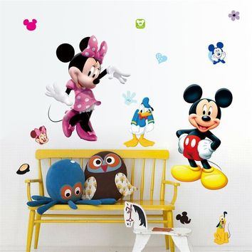 Mickey Mouse Minnie Vinyl Wall Stickers For Kids Rooms Nursery Home Decor Cartoon Movie Wall Decals Diy Mural Art PVC Posters