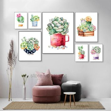 Cactus Succulent Plant Watercolor Nordic Poster Cuadros Wall Pictures For Living Room Picture Wall Art Canvas Painting Unframed
