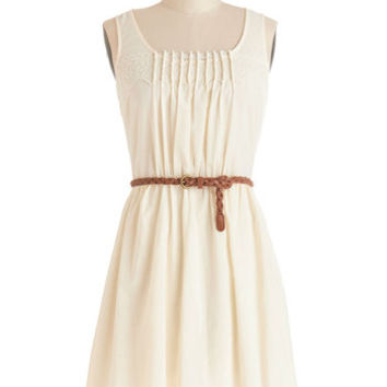 ModCloth Festival Mid-length Sleeveless A-line Rules of Strum Dress in Cream