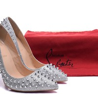 Christian Louboutin Silver Patent Leather Nails High Heels 100mm