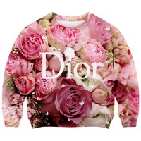 Romwe Women'sElegant Letters and Roses Patterns Print Polyester Sweatshirt-Colorful-S