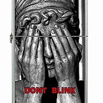 """Dr Who Weeping Angel """"Dont Blink"""" on a Flip Top Lighter and Metal Gift Box"""