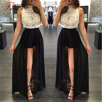 2016 Hot Sale Vintage High Neck Lace Jumpsuit Women Long Chiffon Club Party Playsuit White Sleeveless Top Sexy Rompers Plus Size
