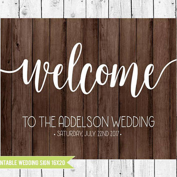 Wooden Wedding Welcome Sign, Wooden Wedding Sign, 16x20 Printable Wedding Sign, Wooden Wedding Decor, PRINTABLE FILE
