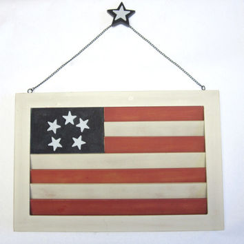 Rustic Flag Art Red White Blue Star Porch Sign