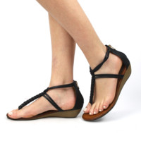 """Winda"" T-Strap Braid Low Wedge Sandals - Black"