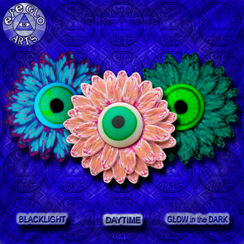 Halloween Party Glow in the Dark Eyeball Flower Pendant in Yellow and Purple EyeGloArts Handmade Blacklight jewelry UV wearable Art