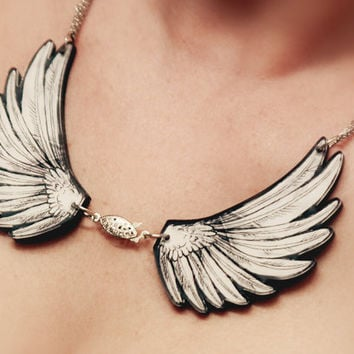 Angel Wings Acrylic Laser Cut Statement Necklace wtih Unique Front Clasp - Goth, Fantasy, Steampunk