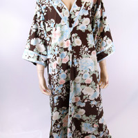 Vintage 1990s Oscar da la Renta Brown Floral Caftan Size Large Excellent Condition