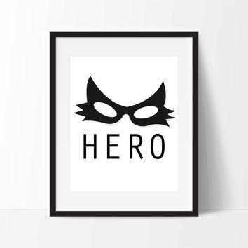Superhero Catwoman Mask Art Print Set - Toddler Room Decor - Children's Wall Art - Toddler Art