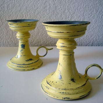Yellow Painted Pair of Vintage Candle Holders, Shabby Chic Chippy Yellow Candle Holders with Handle, Gray and Yellow, Yellow and Gray Decor