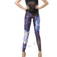 Blue Galaxy Color Printing Leggings Pants from Galaxy Leggings