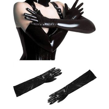 Sexy Women Lady Gauntlet Long Glove Black Patent Leather Elastic Material 2017 summer fashion