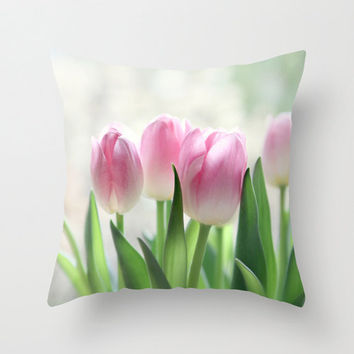 "floral pillow ""awakening"" pink tulips,decorative pillow cover, cottage decor,pink, pastel pillow,flowers"