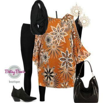 ONETOW (pre-order) Set 817: Mustard Geo Flower Tunic (bag and shoes sold separately)